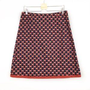 Boden Flower Olive Print A Line Lined Cotton Skirt